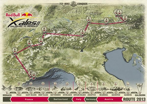 Trasa Red Bull X-Alps 2013