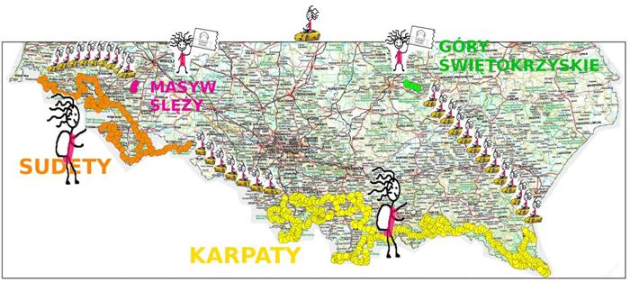 """Trasa wyprawy """"Górami Polski"""""""