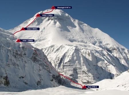 Droga na Dhaulagiri widziana z Przełęczy Francuzów
