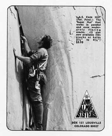 Reklama Cam Nut w magazynie Climbing z  1973 roku (fot. needlesports.com)