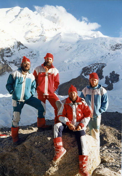 At Shishapangma, 1987: Richard Warecki, Janusz Majer, Jerzy Kukuczka, Artur Hajzer (photo courtesy of Janusz Majer)