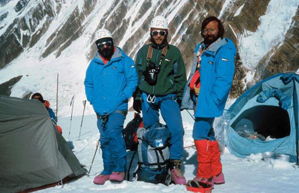Od lewej: Janusz Majer, Artur Hajzer, Ryszard Warecki. Wyprawa Jerzego Kukuczki na Annapurnę Wchodnią (fot. arch. Janusz Majer)