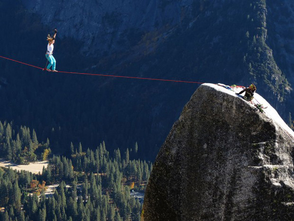 Barbara Sobańska na Lost Arrow Spire Highline