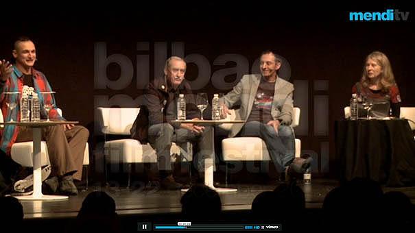 Adam Bielecki, Krzysztof Wielicki, Denis Urubko i Bernadette McDonald podczas panelu na Mendi Film Festival 2013 w Bilbao