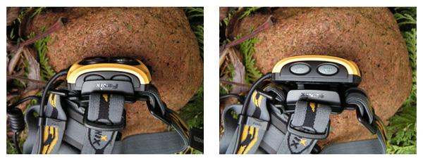 Gdy głowica jest złożona plastikowa nakładka chroni przed przypadkowym włączeniem np. podczas transportu w plecaku, dopiero po rozłożeniu głowicy uzyskuje się pełny dostęp do przycisków. Fot. Jarosław Sekuła