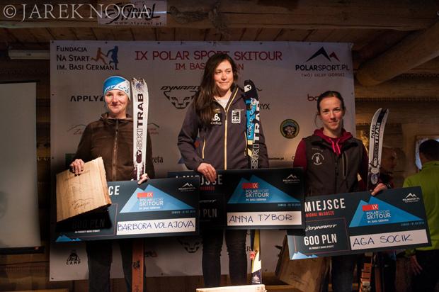 Zwycięskie podium zawodów IX Polar Sport Skitour im. Basi German (fot. Jarek Noga)