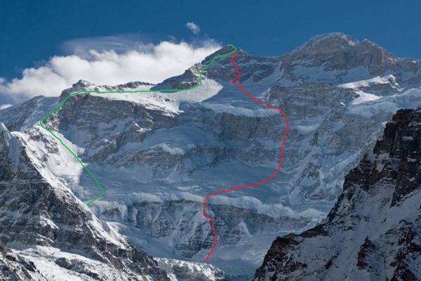Kanczendzonga - z lewej linia drogi do wejścia aklimatyzacyjnego, z prawej projekt nowej drogi