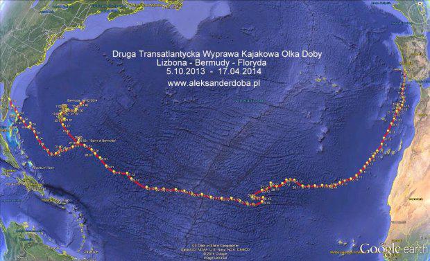 Trasa wyprawy Olka Doby