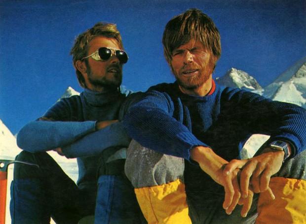 Peter Habeler i Reinhold-Messner pod Gasherbrumami w 1975 r. (fot. himalaya-club.sk)