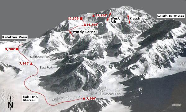 Trasa przez West Buttress na Denali (fot. Alpine Ascents International)