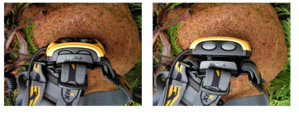 Gdy głowica jest złożona plastikowa nakładka chroni przed przypadkowym włączeniem np. podczas transportu w plecaku, dopiero po rozłożeniu głowicy uzyskuje się pełny dostęp do przycisków (fot. Jarosław Sekuła)