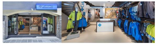 Sklep firmy Columbia Sportswear w Chamonix