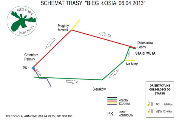 Schemat trasy Biegu Łosia prowadzącej szlakami Puszczy Kampinoskiej