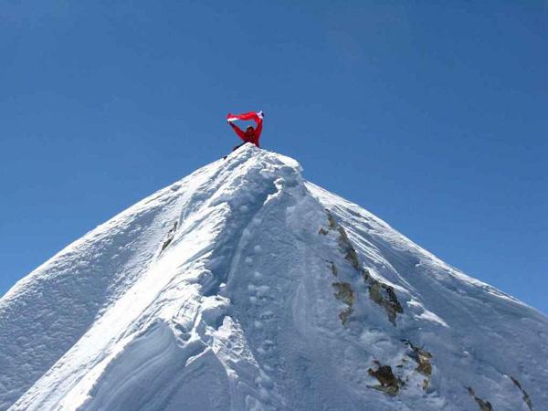Adam Bielecki na szczycie Makalu 30.09.2011 godz. 14.30 (fot. Artur Hajzer)