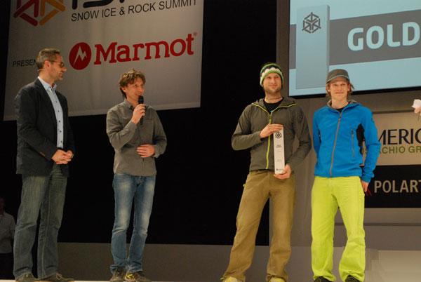 Targi ISPO MUNICH 2014 - Piotr Turkot na scenie nagród ISPO AWARD (fot. Outdoor Magazyn)