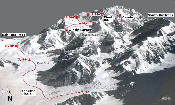 Trasa przez West Buttress na Denali (fot. Alpine Ascents International)