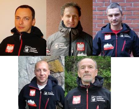 Uczestnicy wyprawy na K2. Od lewej u góry: Marcin Kaczkan, Janusz Gołąb, Artur Małek, Paweł Michalski i Piotr Snopczyński.