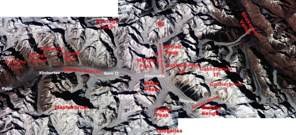 Nasa Baltoro Glacier K2 Broad Peak Gasherbrum I, II and IV Masherbrum ISS001-343-26 and 27