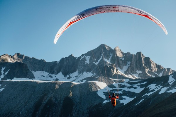 Pawel Faron (POL) performs during the Red Bull X-Alps in Passo Della Novena, Switzerland on 12th July 2015