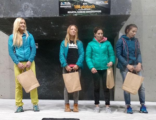 Zako Boulder Power 2015 – podium pań, od lewej: Sylwia Buczek, Daria Bryłowa, Olga Niemiec i Paulina Kalandyk (fot. Ilona Łęcka)