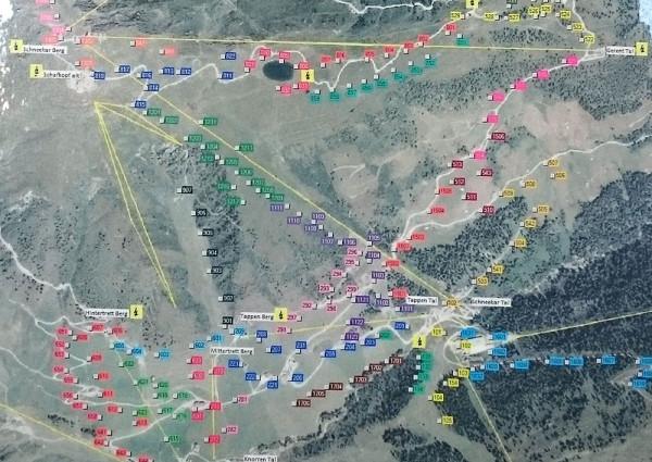 Jedna z map systemu zarządzania pokrywą śnieżną w Mayrhofen (fot. outdoormagazyn.pl)