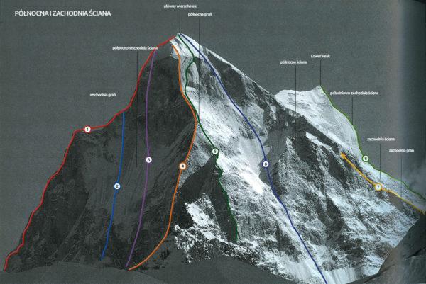 Zespół Kukurowski – Chrzanowski wspinał się na drodze czeskiej oznaczonej nr 6. W tej chwili Łukasz Chrzanowski jest w połowie bariery skalno lodowej czyli pomiędzy dużym śnieżnym polem a dolnymi śniegami