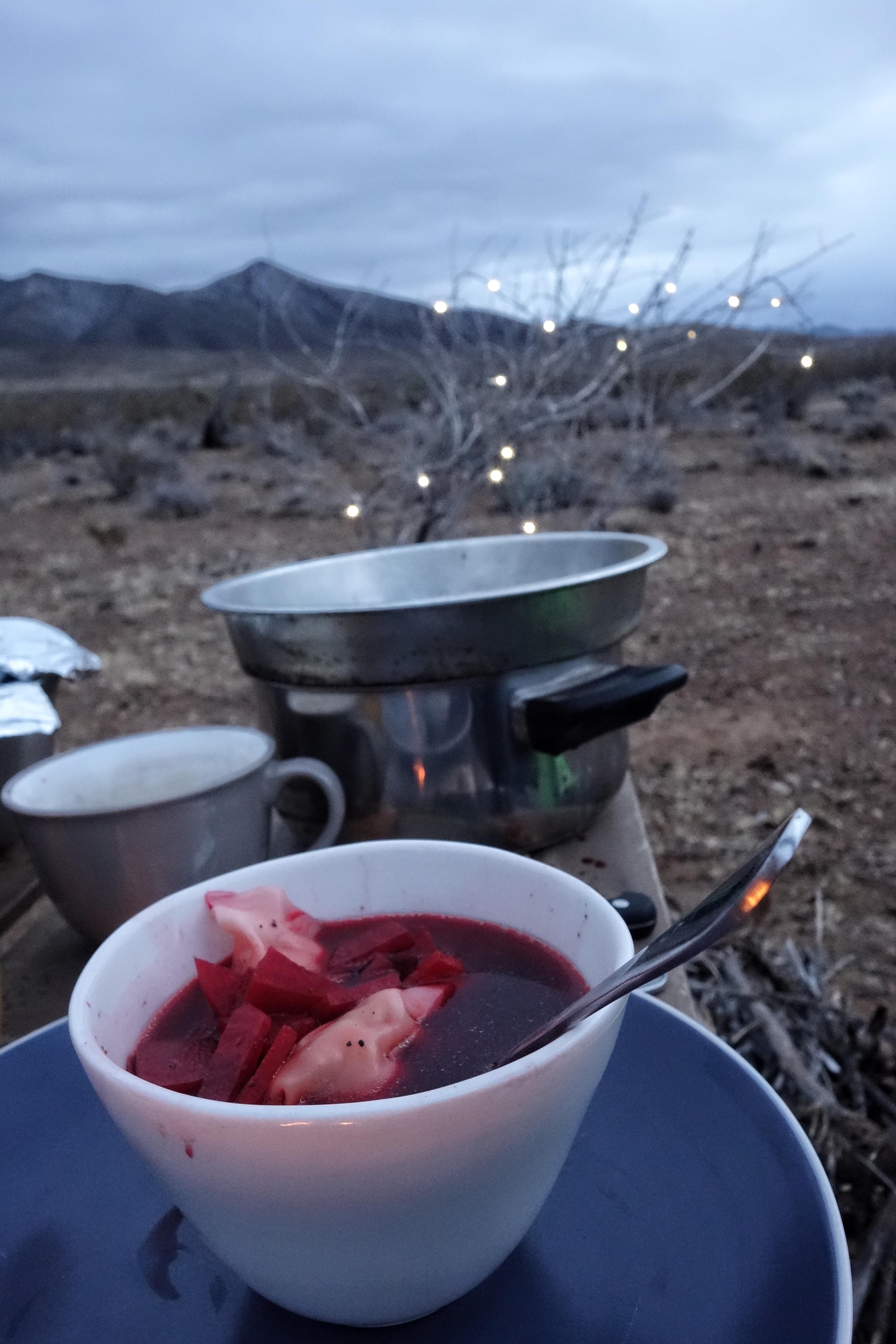 """Za """"choinkę"""" przebraliśmy wbitą w piasek uschniętą gałązkę przyozdobioną lampkami, które na co dzień służyły nam jako oświetlenie postojowe w Potworze (fot. Michał Gurgul)"""