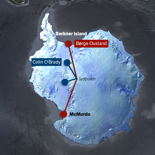Schemat przedstawiający skrótowo przebieg trasy Colina O'Brady'ego oraz Borge'a Ouslanda (opracowanie: MAteusz Waligóra)