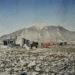 Domek traperski i suszenie prania, Palffyodden, Spitsbergen, 1981 r.