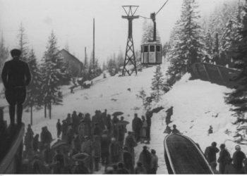 Rozruch maszyn kolejki linowej na Kasprowy Wierch w marcu 1936 r. (fot. Narodowe Archiwum Cyfrowe)