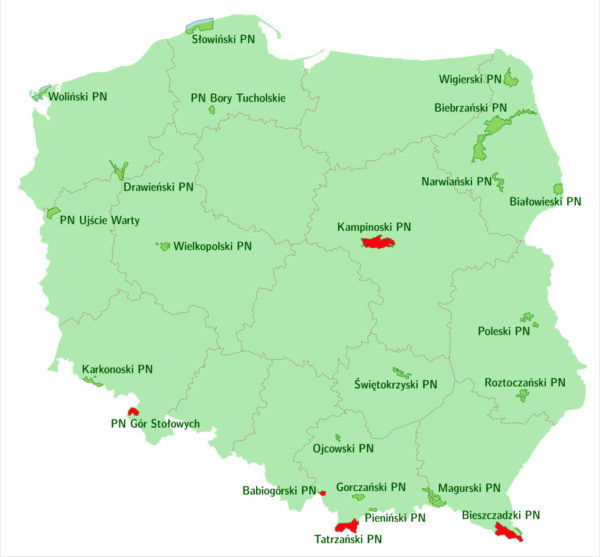 Aktualne ograniczenia dotyczące polskich parków narodowych 27.03.2020 (By Ventic - Praca własna, CC BY-SA 4.0)