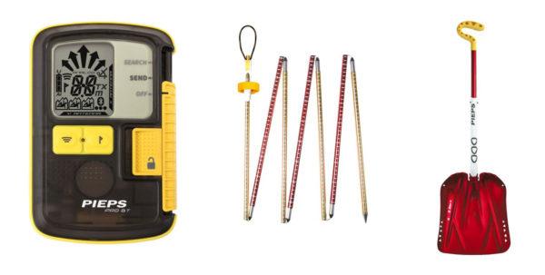 Podstawowy zestaw lawinowy: detektor, sonda i łopata.