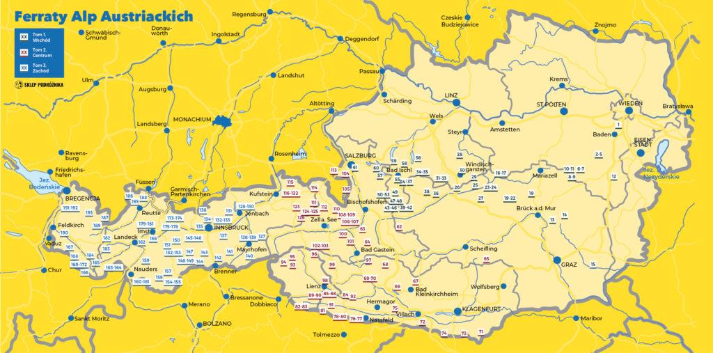 """Mapa via ferrat i dróg opisanych w tomach I-III """"Ferraty Alp Austriackich"""""""